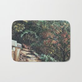 Lighted Path Through Green - Oil on canvas painting Bath Mat