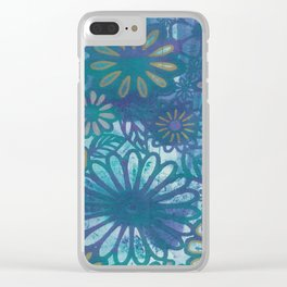 Metallic Daisies Clear iPhone Case