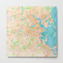Boston region watercolor map Metal Print