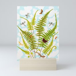 FERNS WITH SALAMANDER Mini Art Print