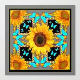 Southwest Sunflowers & Turquoise Butterflies Grey Art Canvas Print