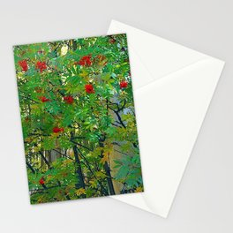 mountain ash tree berry fruits autumn leaves Stationery Cards