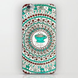 Cafe Expresso Teal, Brown, and White Mandala iPhone Skin