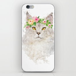 Boho cat portrait with flower crown iPhone Skin