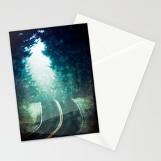 Forest Road Wanderlust - Road Trip Adventure Snowy Dawn Fog Stationery Cards