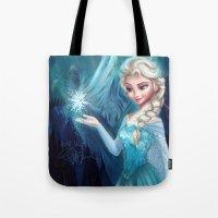 frozen elsa Tote Bags featuring Elsa Frozen by Niniel
