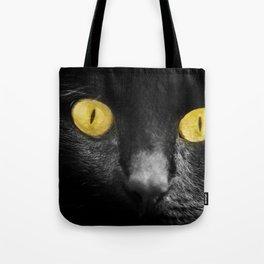 close up black cat yellow eyes Tote Bag