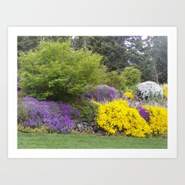 Beautiful Landscape With Purple and Gold Flower, Lush Landscape, Green Art Print