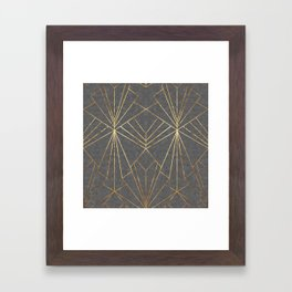 Art Deco in Gold & Grey - Large Scale Framed Art Print