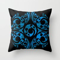 maori Throw Pillows featuring Blue Maori Style by Lonica Photography & Poly Designs