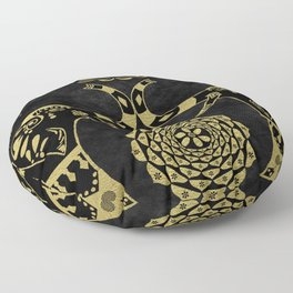 Lotus Flower Elephants Mandala Gold & Black Floor Pillow