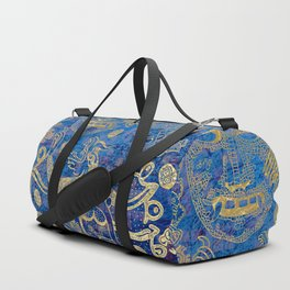 Mexican gold on blue Duffle Bag