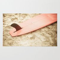 surfboard Area & Throw Rugs featuring Red Surfboard by Allen G.