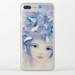 Watercolor girl with fish in the water portrait Clear iPhone Case