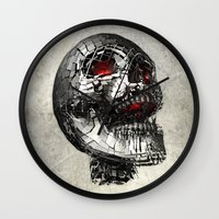 cyberpunk Wall Clocks featuring No Laughing Matter (background option) by Obvious Warrior