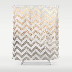 GOLD & SILVER CHEVRON Shower Curtain