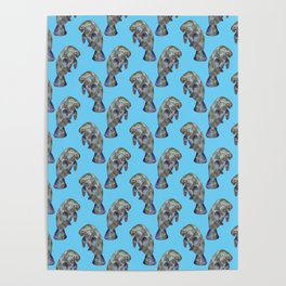 Blue Watercolor Manatee Pattern Poster