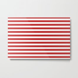 Red and White Candy Cane Stripes Thick Horizontal Lines, Festive Christmas Holiday Metal Print