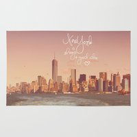 new york Area & Throw Rugs featuring NEW YORK NEW YORK by SUNLIGHT STUDIOS  Monika Strigel