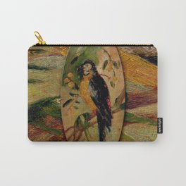 Parrot Hand Painted on Wood Carry-All Pouch