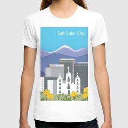 Salt Lake City, Utah - Skyline Illustration by Loose Petals T-shirt