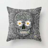 calavera Throw Pillows featuring Calavera by AkuMimpi