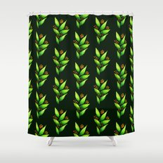 Abstract Watercolor Green Plant With Orange Berries Shower Curtain