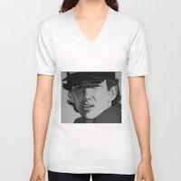 senna V-neck T-shirts featuring Ayrton by Valeria Natale