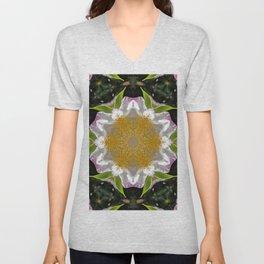 Camellia Flower Kaleidoscope  Unisex V-Neck