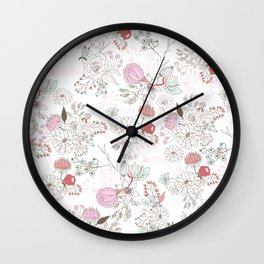 Blush pink teal white elegant floral illustration Wall Clock