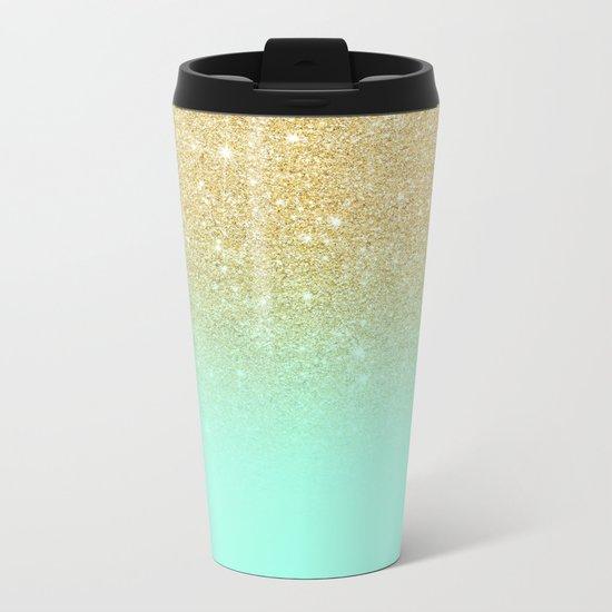 Modern gold ombre mint green block Metal Travel Mug