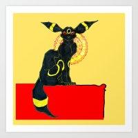 umbreon Art Prints featuring umbreon noir by HiddenStash Art