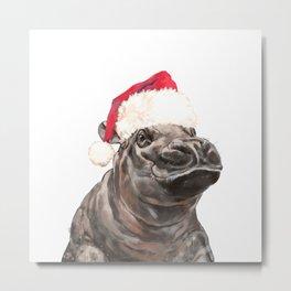 Christmas Baby Hippo Metal Print