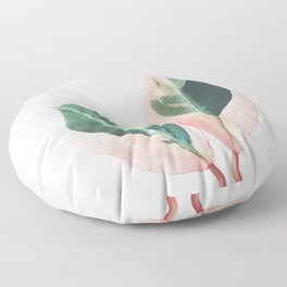 Pink Leaves I Floor Pillow