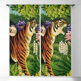Henri Rousseau Dreaming of Tigers tropical big cat jungle scene by Henri Rousseau Blackout Curtain