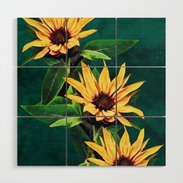 Watercolor sunflowers Wood Wall Art
