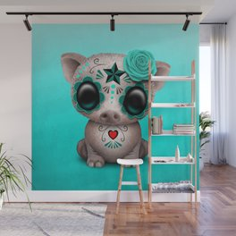 Blue Day of the Dead Sugar Skull Baby Pig Wall Mural