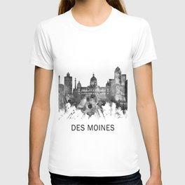 Des Moines Iowa Skyline BW T-shirt