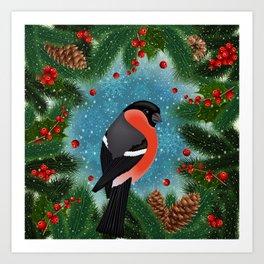 Bullfinch bird with fir tree decoration Art Print