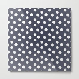 Brushy Dots Pattern - Navy Metal Print
