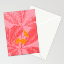 Modern Botanical Leaves in Pink Stationery Cards