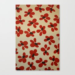 Red and Cream Pattern Design  - Abstract Flower - Wild Veda Canvas Print