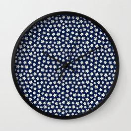 Lazy Daisy on Blue Wall Clock