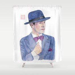 Man wearing a hat Shower Curtain