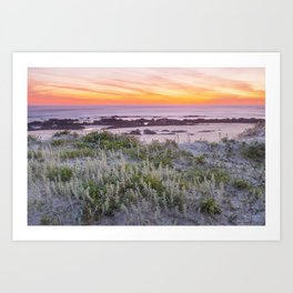 Red sunset in the beach Art Print