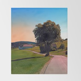 A tree, a road and summertime Throw Blanket