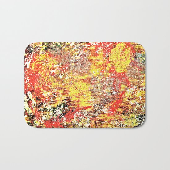Golden Autumn Abstract Bath Mat