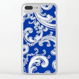 Sapphire Blue Retro Chic Swirl Clear iPhone Case