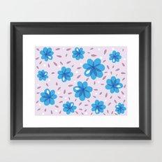Gentle Blue Flowers Pattern Framed Art Print