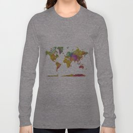 Map of the World - Watercolor 5 Long Sleeve T-shirt